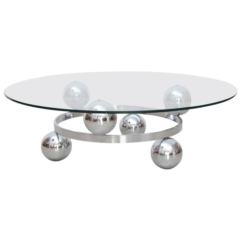 Round Chrome Sputnik Atomic Coffee Table with Glass Top For Sale