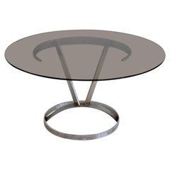 Round Chromed Steel and Glass Dining Table by Boris Tabacoff