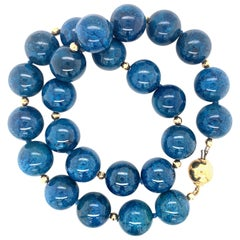 Round Chrysocolla Bead Necklace with Yellow Gold, 202 Grams