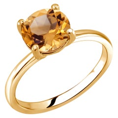 Round Citrine Solitaire Sterling Silver Ring Yellow Gold-Plated