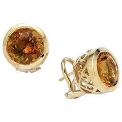Round Citrine Stud Earrings, Gold, Ben Dannie