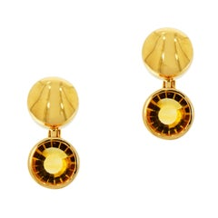 Round Citrine Yellow Gold Manfredi Earrings