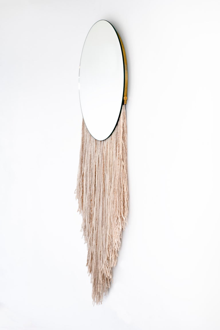 Round Clear Mirror with Fiber - Contemporary Eos Mirror by Ben & Aja Blanc In New Condition For Sale In Rumford, RI