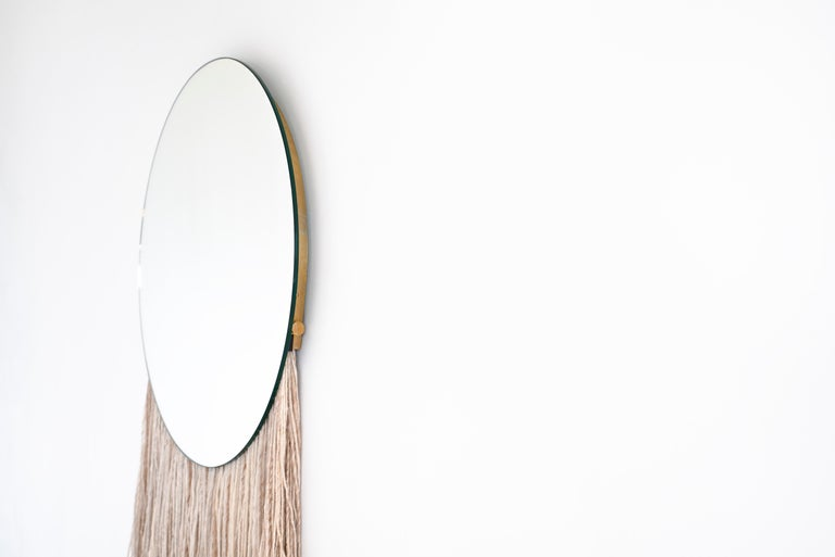 Silk Round Clear Mirror with Fiber - Contemporary Eos Mirror by Ben & Aja Blanc For Sale