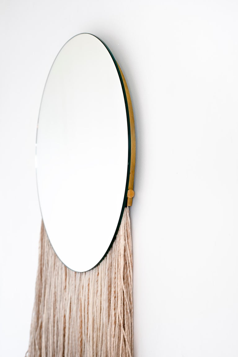 Round Clear Mirror with Fiber - Contemporary Eos Mirror by Ben & Aja Blanc For Sale 1