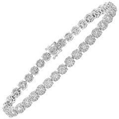Round Cluster Diamond Tennis Bracelet
