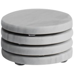Round Coasters Set in Bego White Marble
