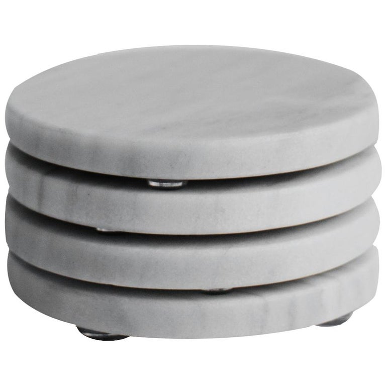 Round Coasters Set in Bego White Marble For Sale