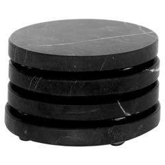 Round Coasters set in black marble