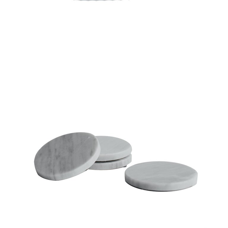 Modern Round Coasters Set in Bego White Marble For Sale