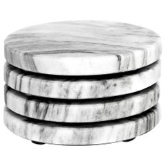 Round Coasters set in white Veneciano marble