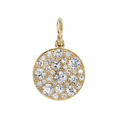 Round Cobblestone Diamond Charm Set in 18 Karat Yellow Gold