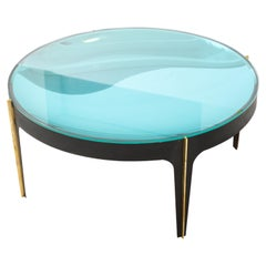 Round Cocktail Table in Black Enameled Metal, Brass and Blue Green Optical Glass