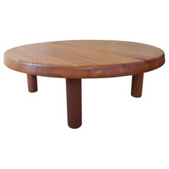 Round Coffe Table T 02 M Pierre Chapo from 1970 in French Elm