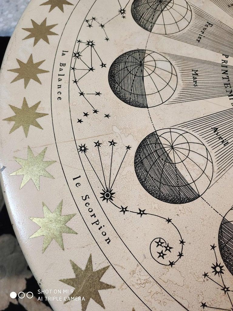 Piero Fornasetti Round Coffee Table Costellazioni with Gold Decorations, 1960 For Sale 4