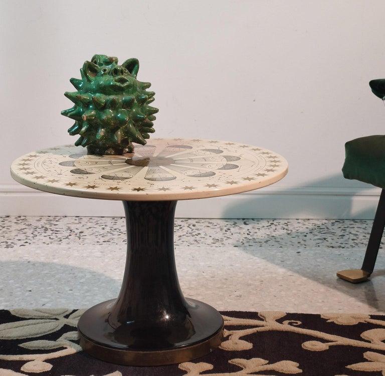 Mid-Century Modern Piero Fornasetti Round Coffee Table Costellazioni with Gold Decorations, 1960 For Sale