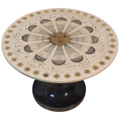Round Coffee Table Costellazioni by Piero Fornasetti with Gold Decorations, 1960