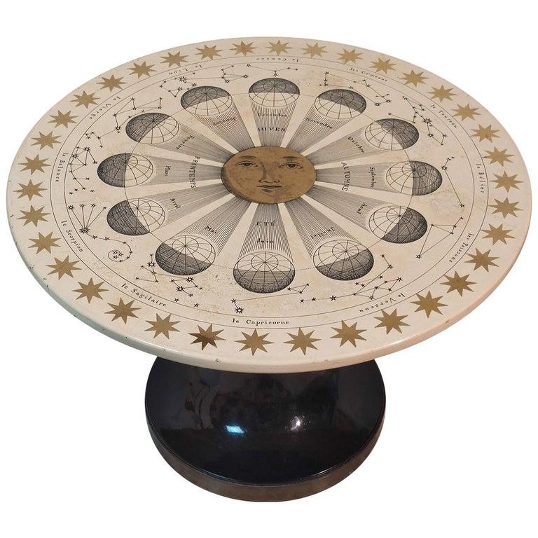 Piero Fornasetti Round Coffee Table Costellazioni with Gold Decorations, 1960 For Sale