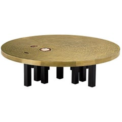 Round Coffee Table in Brass Inlayed with Agate by Jean Claude Dresse