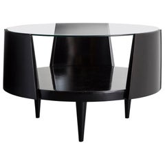 Round Coffee Table in Ebonized Wood by Martin Eisler, Brazil, 1950s