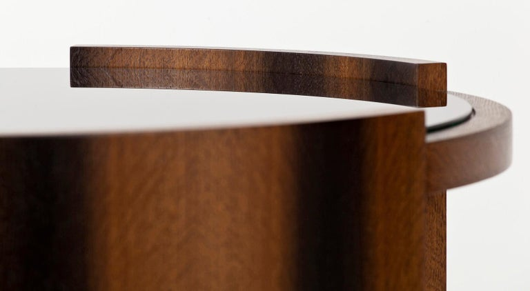Blackened Round Coffee Table in Oak and Black Glass For Sale