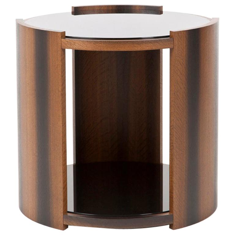 Round Coffee Table in Oak and Black Glass For Sale