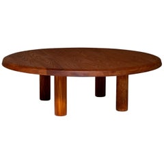 Round Coffee Table in Solid Elm, France, 1960s