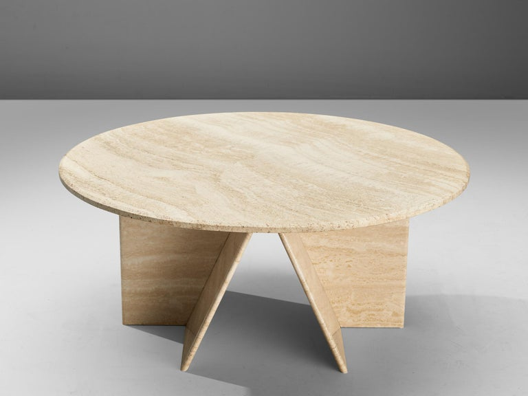Post-Modern Round Coffee Table in Travertine For Sale