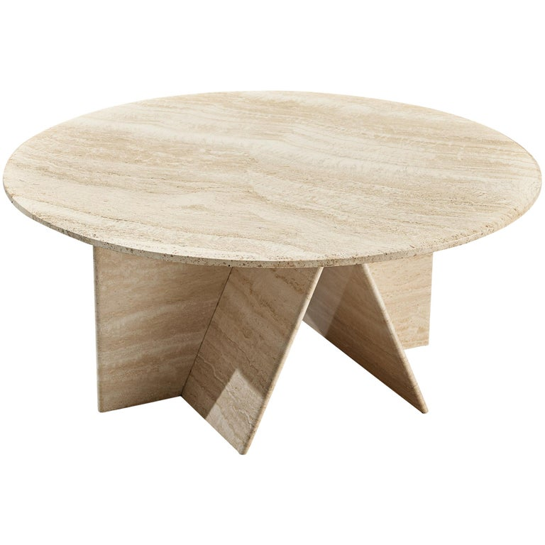 Round Coffee Table in Travertine For Sale