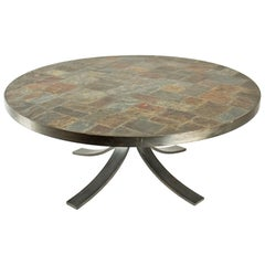 Round Coffee Table in Wrought Iron and Stone from the Ardoise, circa 1960-1970