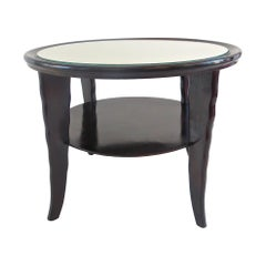 Round Coffee Table Mirror Top Black Laquered Two-Tier Attributed to Borsani 1940
