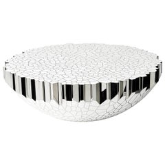 Round Coffee Table 'My Collection' Michael Young Stainless Steel White Resin