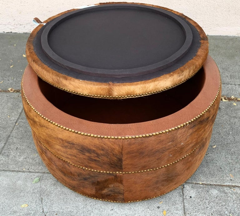 American Round Coffee Table/Ottoman or Bar upholstered in Brown Cowhide Leather For Sale