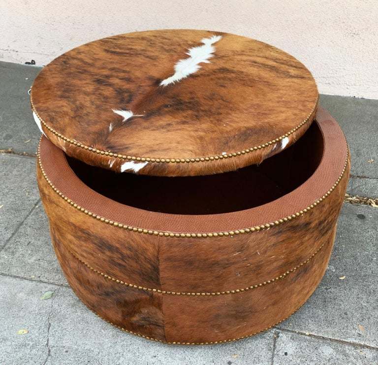 Round Coffee Table/Ottoman or Bar upholstered in Brown Cowhide Leather In Good Condition For Sale In Los Angeles, CA