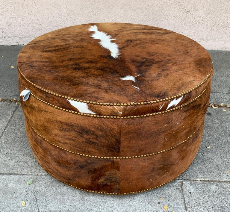 Round Coffee Table/Ottoman or Bar upholstered in Brown Cowhide Leather For Sale 2