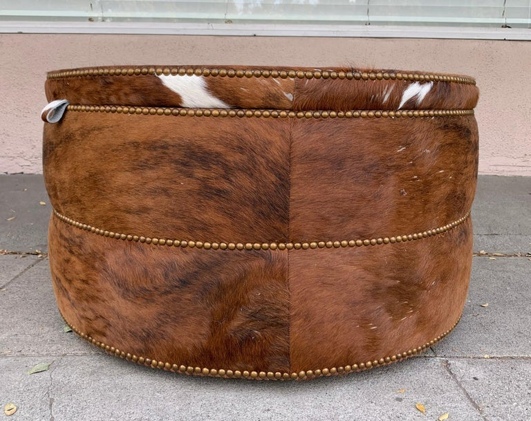 Round Coffee Table/Ottoman or Bar upholstered in Brown Cowhide Leather For Sale 3