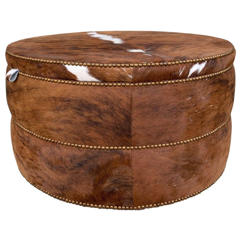 Round Coffee Table/Ottoman or Bar upholstered in Brown Cowhide Leather For Sale