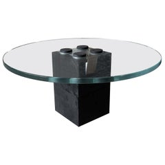 Round Coffee Table with Black Belgio Marble Base