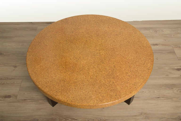 Mid-Century Modern Round Coffee Table with Cork Top by Paul Frankl For Sale