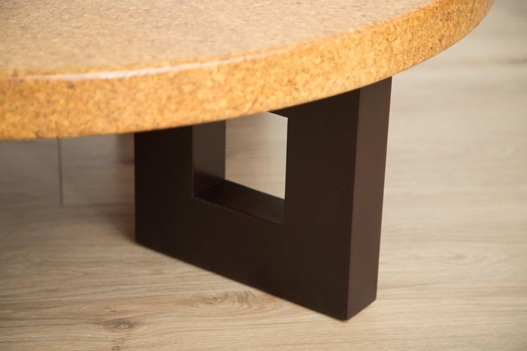Stained Round Coffee Table with Cork Top by Paul Frankl For Sale