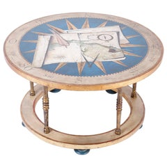 Round Coffee Table with Gold Leaf and Trompe L'oeil