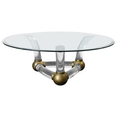 Round Coffee Table with Thick Curved Lucite and Brass Ball Base