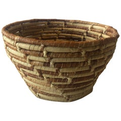 Round Coiled Tan and Brown Decorative Basket