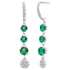 Round Colombian Emerald and Diamond Cluster White Gold Hoop Earrings