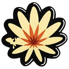 Round Colorful Flower Rug from Graffiti Collection by Paulo Kobylka, Medium