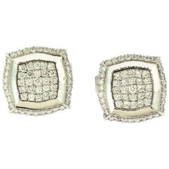 Round Composite Diamond Square Shaped in 18 Karat White Gold Cufflinks