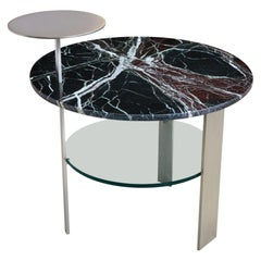 Modern Round Coffee Table Red Levanto Marble Glass Top Satin Steel Base