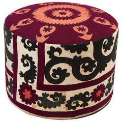 Round Contemporary Pouffe Made with Antique Suzani Fabric