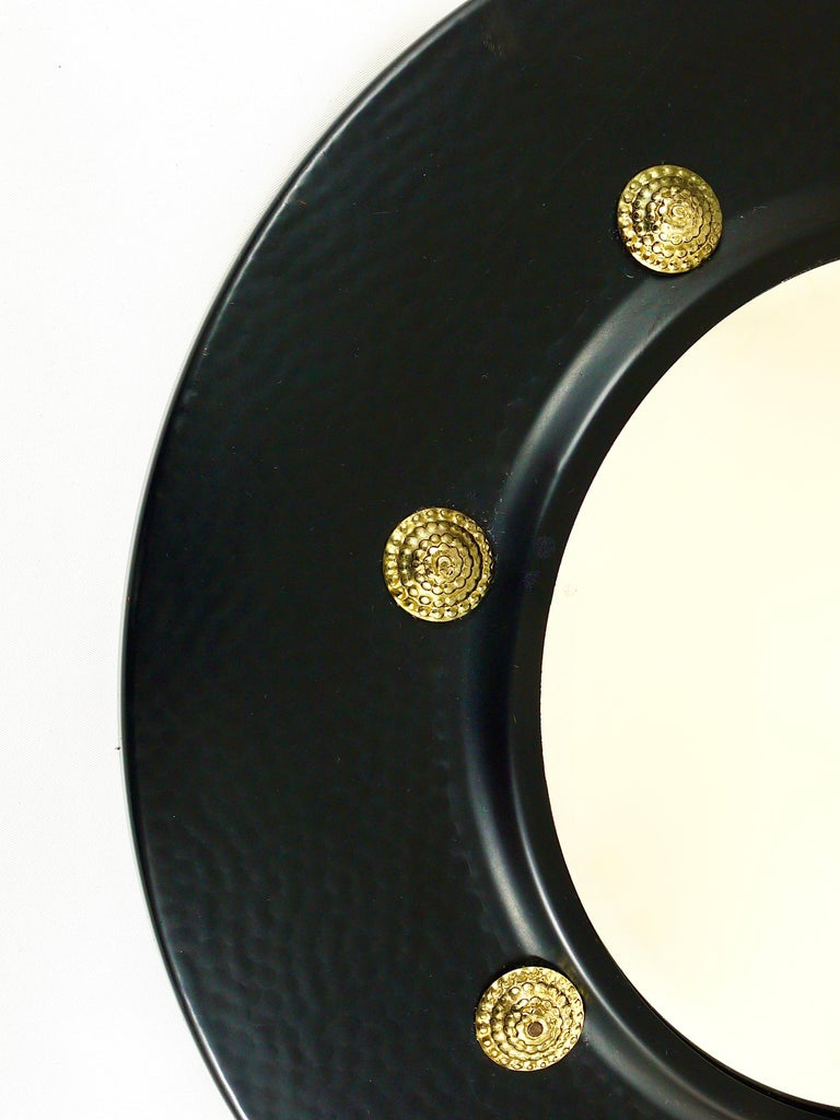 Mid-Century Modern Round Convex Brass Mirror in the style of Piero Fornasetti, Italy, 1960s For Sale