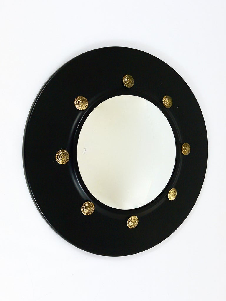 Italian Round Convex Brass Mirror in the style of Piero Fornasetti, Italy, 1960s For Sale